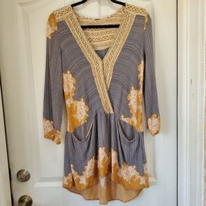 FREE PEOPLE long sleeve surplice top w pockets
